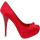 Escarpin habillé en satin rouge talon haut