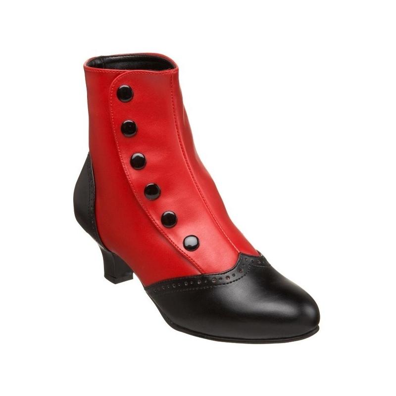bottine noire et rouge taille 37 petit talon promo. Black Bedroom Furniture Sets. Home Design Ideas