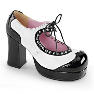 Escarpin gothique à lanière coloris noir et blanc gothika-10