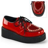 Chaussure femme rouge vernie à lacet creeper-108
