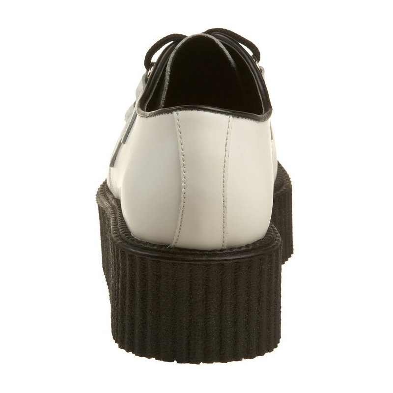 Chaussures hommes cuir blanc creepers rockabilly - Nettoyer chaussure cuir blanc ...