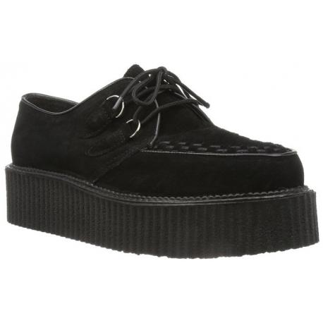 Chaussure gothique croute de cuir noir creeper-402s