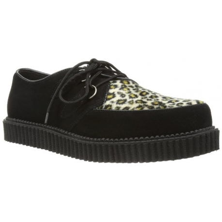 Chaussure punk coloris noir et léopard creeper-600