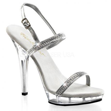 Sandales à Fines Brides Argent et Strass Talon Fin LIP-117
