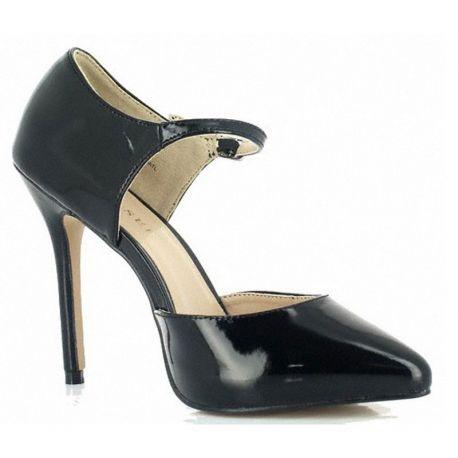 Escarpins d'Orsay noirs vernis talon haut