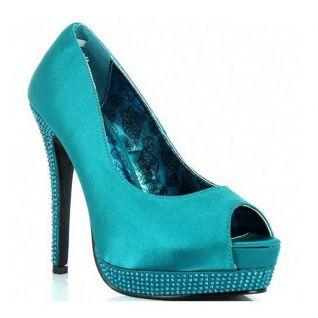 Escarpin Peep Toe coloris bleu turquoise talon haut