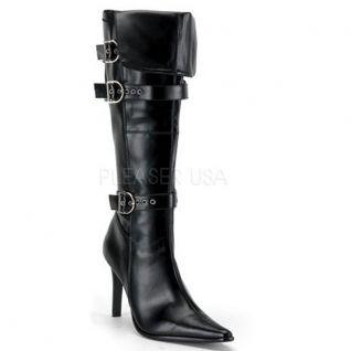 Chaussures féminines bottes genouillères noires talon haut