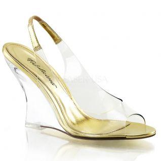 Sandale compensée transparente et dorée