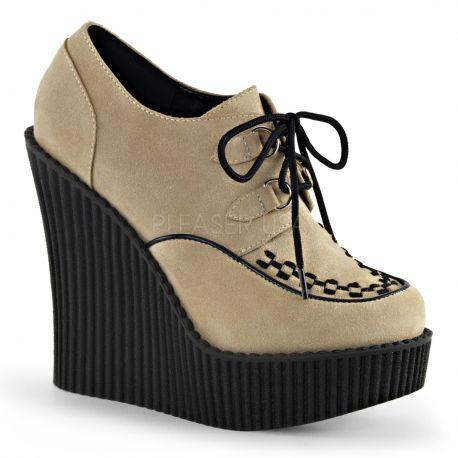 Chaussure femme creeper-302 caramel velours