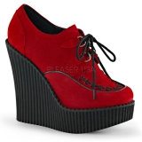 Creepers femme velours rouge