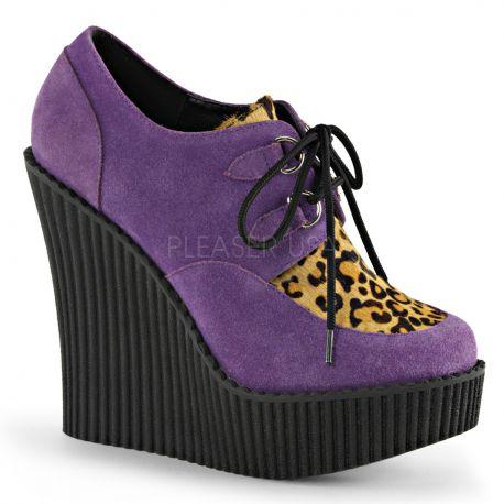 Creepers femme coloris lilas talon compensé creeper-304