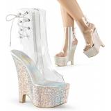 Chaussures sandales transparente et paillettes  compensé  beau-1018dm