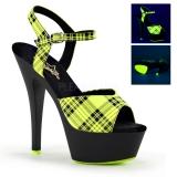 Sandale originale coloris jaune fluorescent talon haut kiss-209pl
