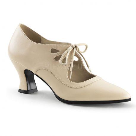 Chaussures Richelieu escarpins beiges à lacet petit talon victorian-03