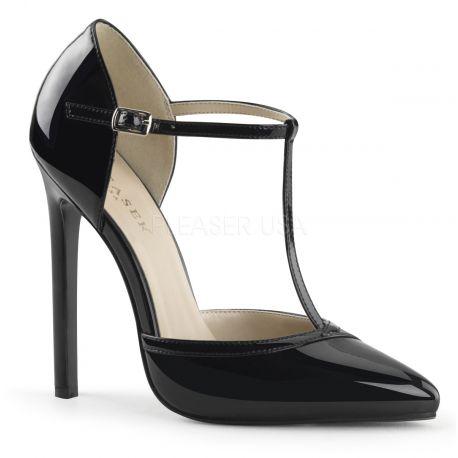 Chaussures vernies escarpins noirs à brides talon haut sexy-27