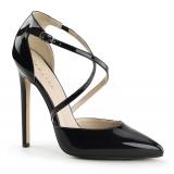 Chaussures vernies escarpins noirs à brides talon haut sexy-26