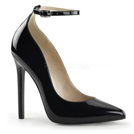 Chaussures vernies escarpins noirs à talon haut sexy-23