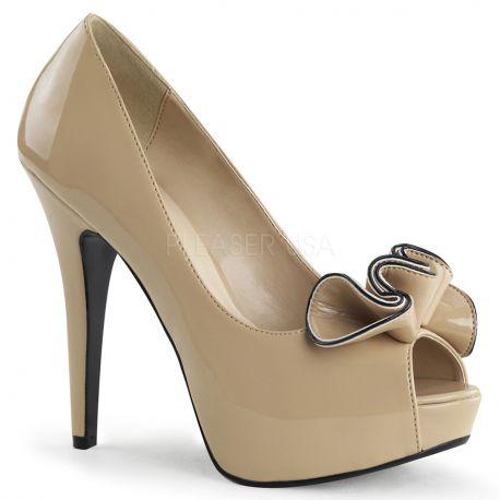 Chaussures escarpins Peep Toe coloris caramel talon haut lolita-10