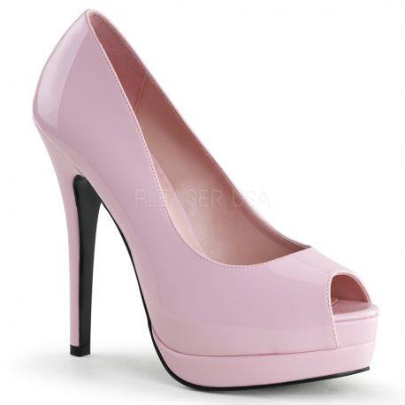 Chaussures escarpins Peep Toe coloris rose vernis talon haut bella-12