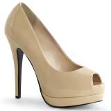 Chaussures escarpins Peep Toe coloris caramel vernis talon haut bella-12