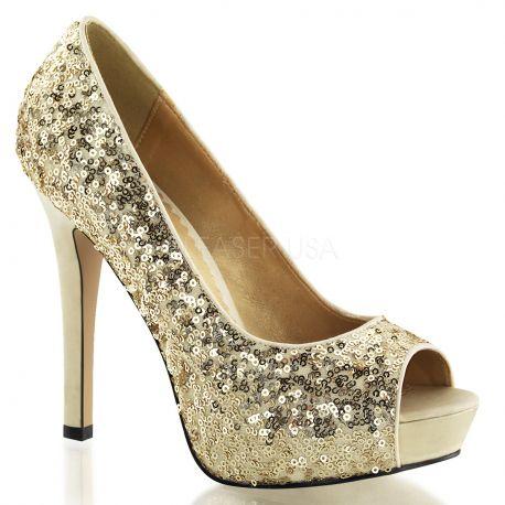Chaussures à paillettes escarpins Peep Toe dorés haut talon lumina-27sq