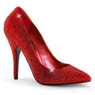 Chaussures escarpins en satin rouge à paillettes talon haut seduce-420rs