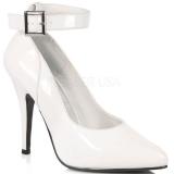 Chaussures escarpins blancs vernis à bride cheville talon fin SEDUCE-431