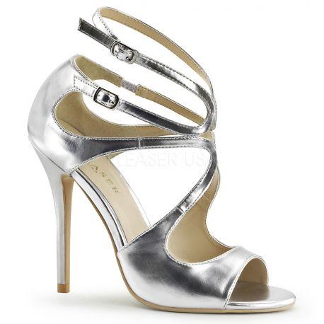 Chaussures sexy nu-pieds argentés à brides talon fin amuse-15