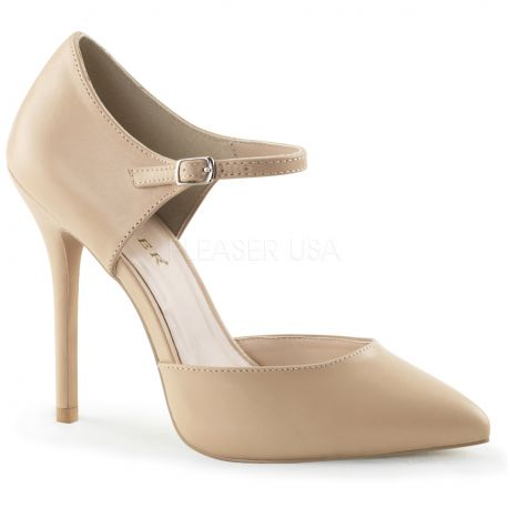 Chaussures en cuir escarpin caramel talon aiguille amuse-35