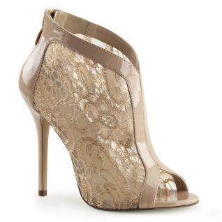 Chaussures en dentelle escarpin caramel talon haut amuse-48