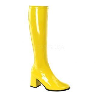 Bottes classiques jaune vernis talon large GOGO-300