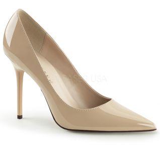 Chaussures talon aiguille escarpins coloris caramel bout pointu classique-20