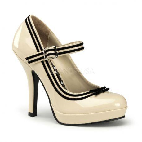 Chaussures escarpins à bride coloris champagne talon haut secret-15