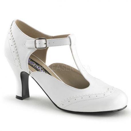 Chaussures à petit talon escarpins d'Orsay blancs flapper-26