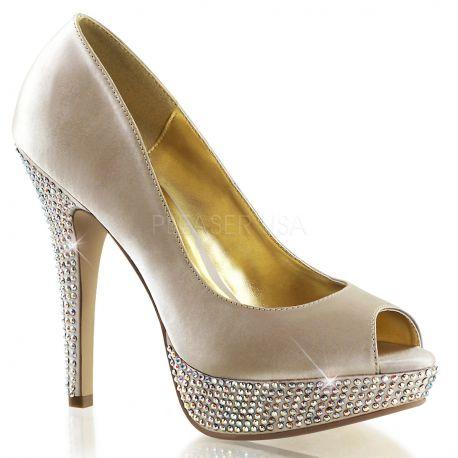 Chaussures Peep Toe escarpin habillé champagne talon fin lolita-02