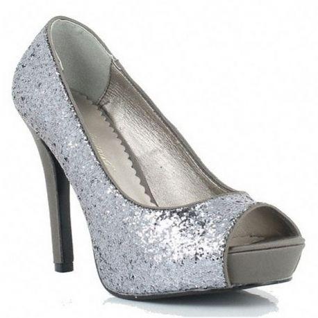 Chaussures à paillettes escarpins bout ouvert coloris argent lumina-27g