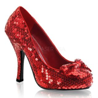 Escarpins sequins rouges talon haut OZ-06