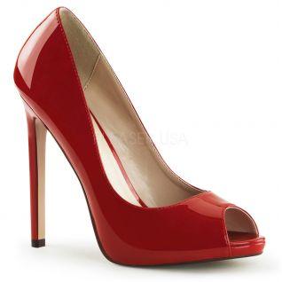 Escarpins Peep Toe coloris rouge vernis talon fin sexy-42