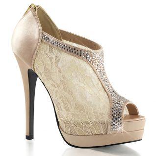 Chaussures en dentelle escarpins Peep Toe coloris champagne bella-26