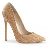 Chaussures originales escarpins imitation liège talon haut sexy-20