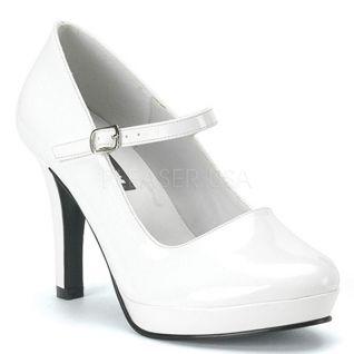 Escarpins blancs vernis à bride