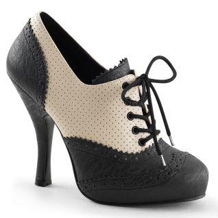 Chaussures à lacet Richelieu caramel et noir talon haut cutiepie-14
