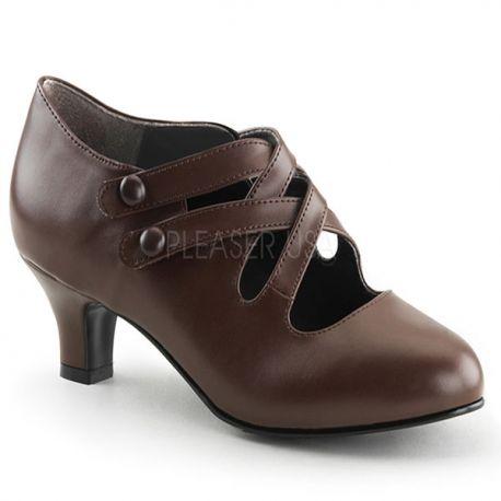 Chaussures femme escarpin coloris marron petit talon dame-02