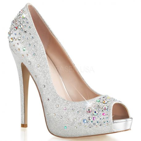 Chaussures couleur argent escarpins bout ouvert talon fin heiress-22r
