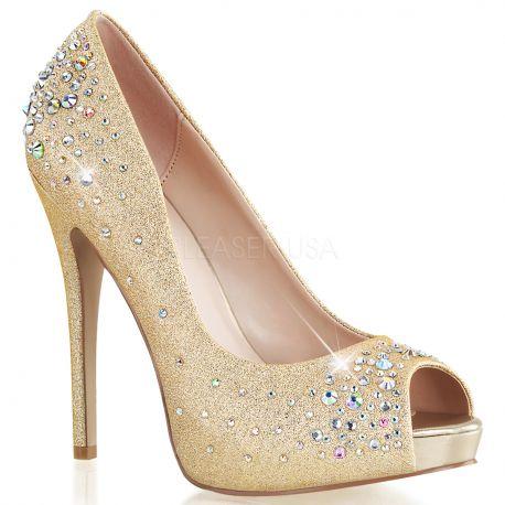 Chaussures dorées escarpins bout ouvert talon aiguille heiress-22