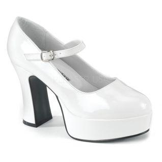 Escarpins pieds larges blancs vernis