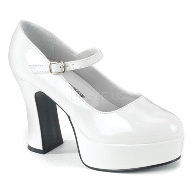 escarpin pied large chaussure mode blanche vernie plateforme. Black Bedroom Furniture Sets. Home Design Ideas
