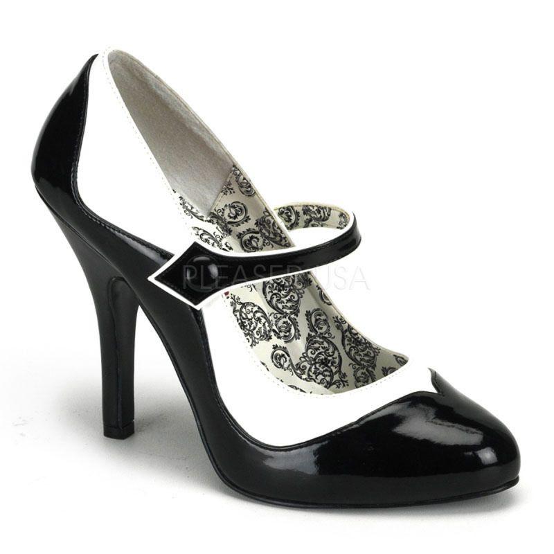 Grey Patent Mid Heel Shoes