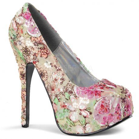 Chaussures à fleurs escarpins haut talon plateforme intégrée