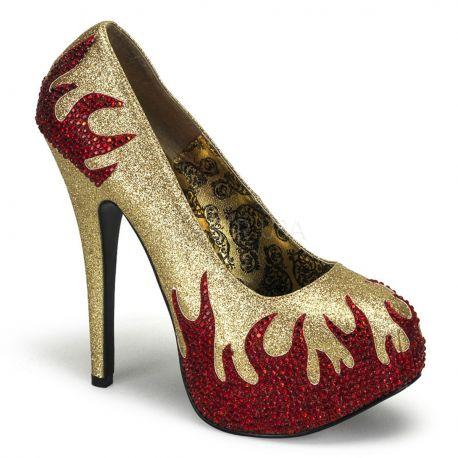 Chaussures à flamme escarpins dorés et rouges talon haut teeze-27